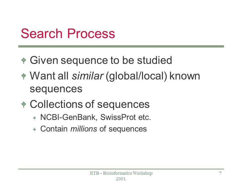 IITB - Bioinformatics Workshop 2001 7 Search Process W Given sequence to be studied W Want all similar (global/local) known sequences W Collections of sequences W NCBI-GenBank, SwissProt etc.