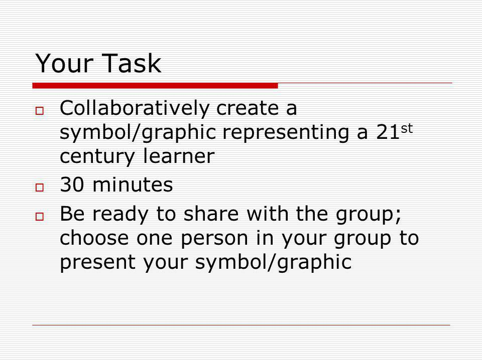 Your Task Collaboratively create a symbol/graphic representing a 21 st century learner 30 minutes Be ready to share with the group; choose one person in your group to present your symbol/graphic