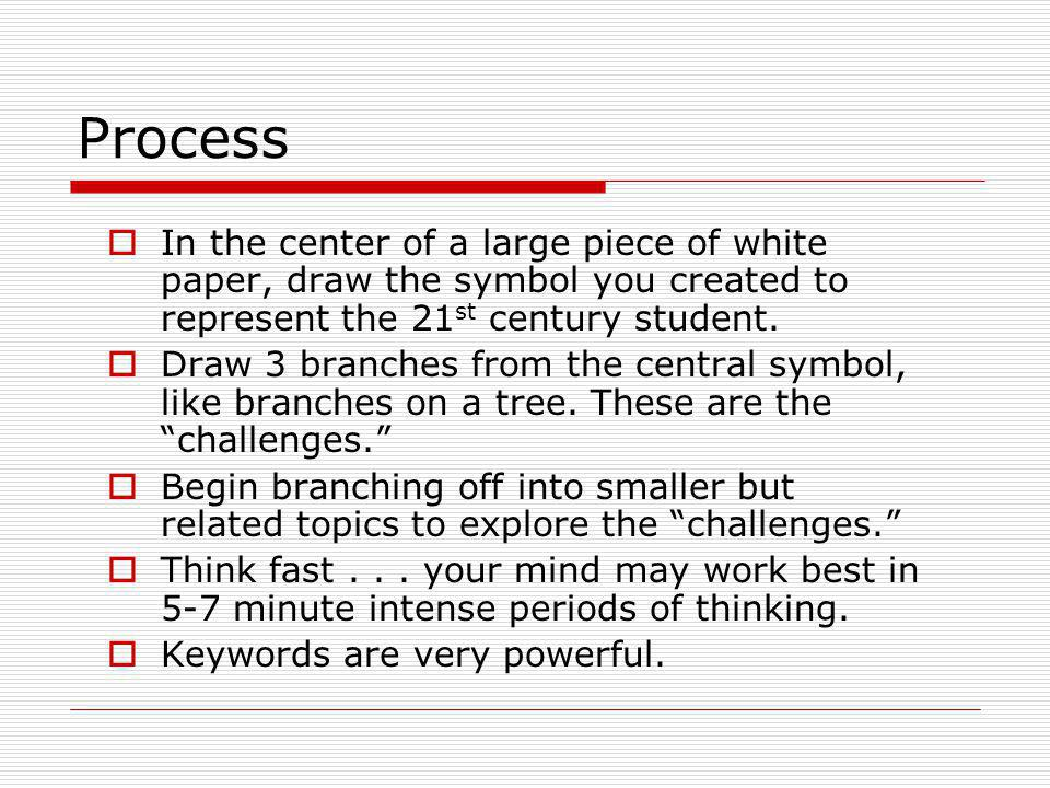 Process In the center of a large piece of white paper, draw the symbol you created to represent the 21 st century student.