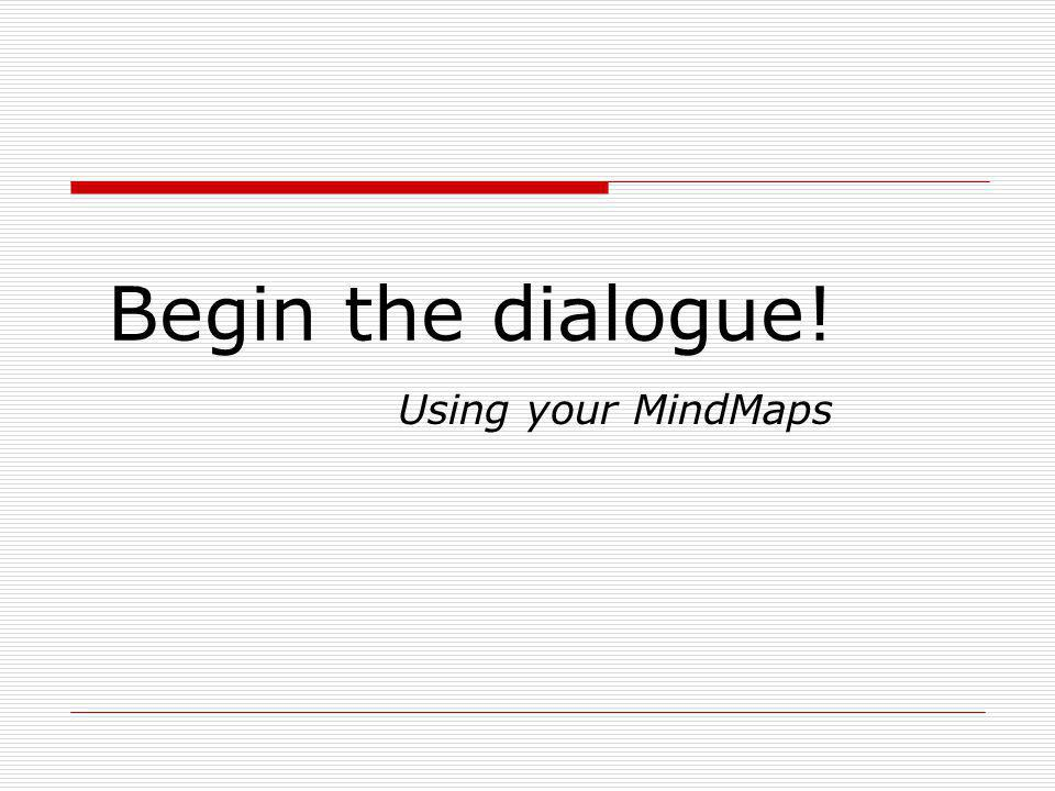 Begin the dialogue! Using your MindMaps