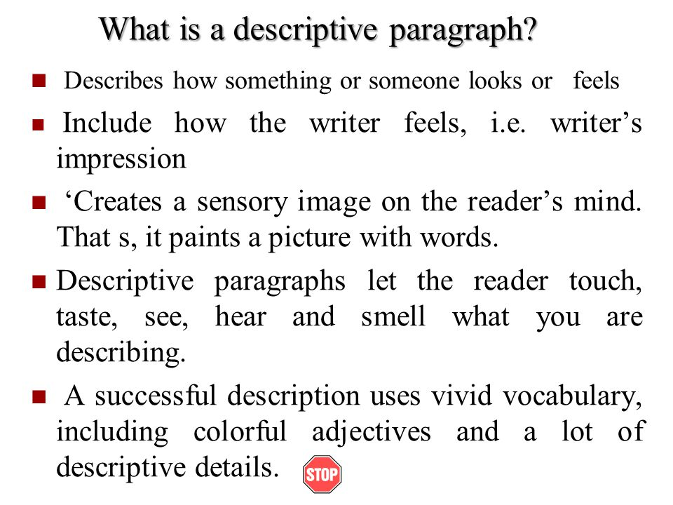 descriptive paragraph about school It's back to school time - teach your students to write a great descriptive paragraph from the very beginning of the school year this is a great freebie watch what amazing writing your students do with these simple paragraph starters.