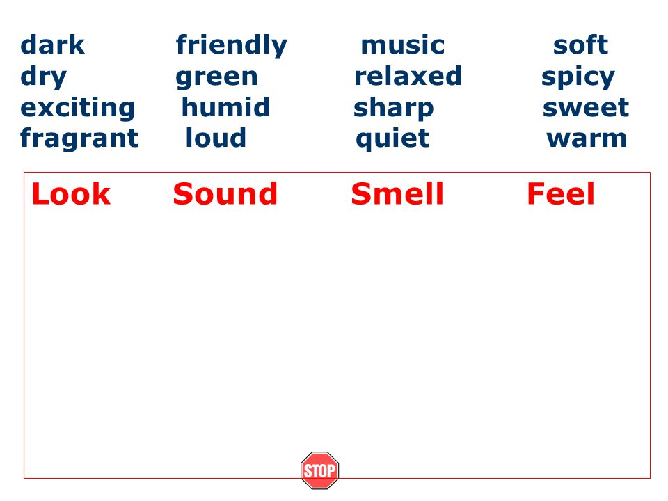 dark friendly music soft dry green relaxed spicy exciting humid sharp sweet fragrant loud quiet warm Look Sound Smell Feel