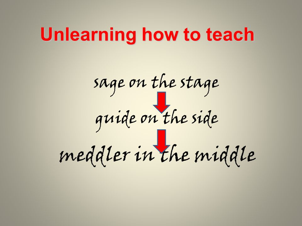 sage on the stage guide on the side meddler in the middle Unlearning how to teach