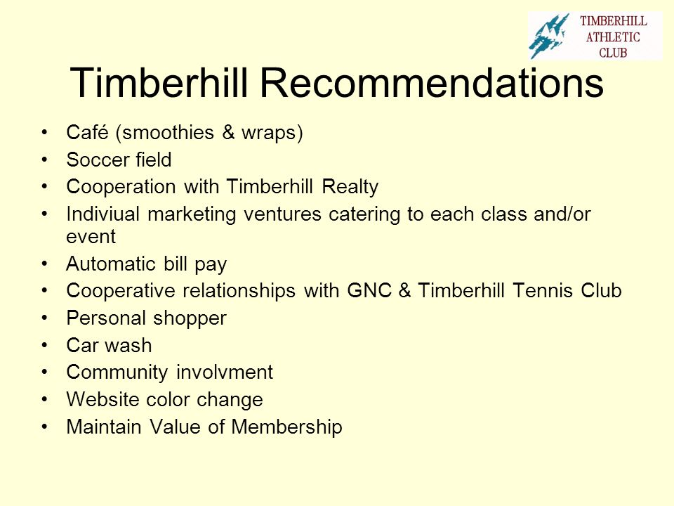 TAC Personal Shopper Timberhill Athletic Club realizes that there is never enough time in the day, so why waste it shopping.