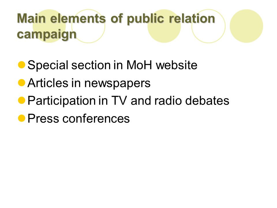 Main elements of public relation campaign Special section in MoH website Articles in newspapers Participation in TV and radio debates Press conferences