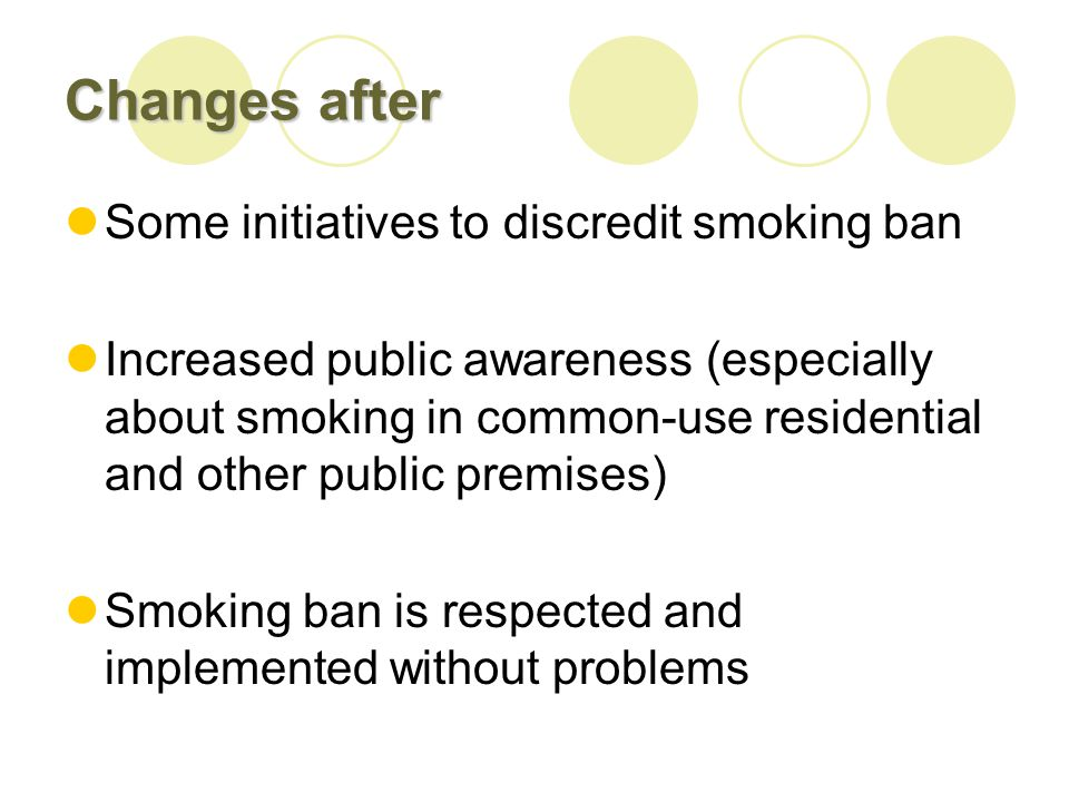 Changes after Some initiatives to discredit smoking ban Increased public awareness (especially about smoking in common-use residential and other public premises) Smoking ban is respected and implemented without problems