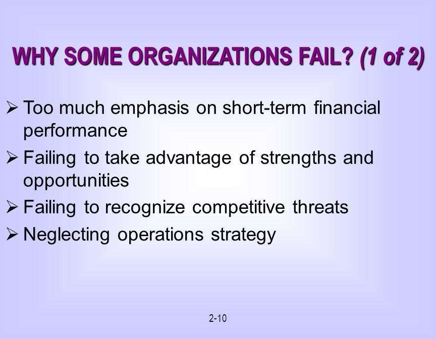 2-10 WHY SOME ORGANIZATIONS FAIL.