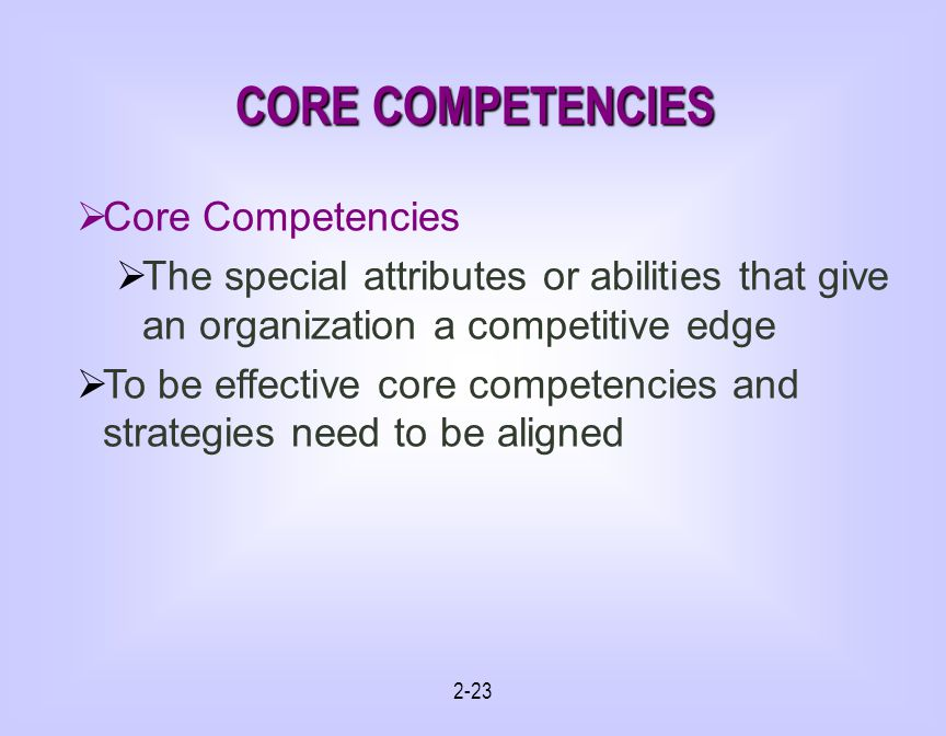 2-23 CORE COMPETENCIES Core Competencies The special attributes or abilities that give an organization a competitive edge To be effective core competencies and strategies need to be aligned
