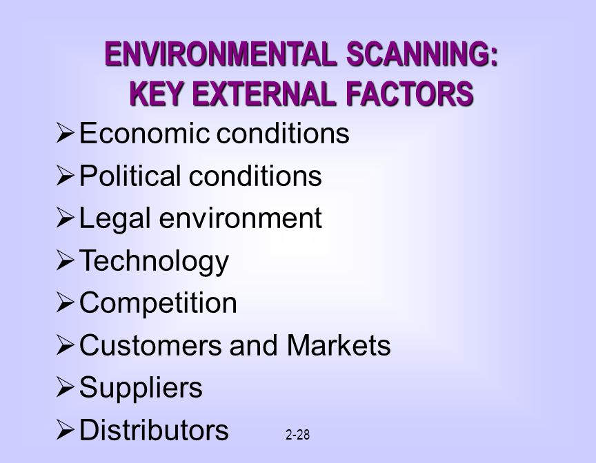 2-28 ENVIRONMENTAL SCANNING: KEY EXTERNAL FACTORS Economic conditions Political conditions Legal environment Technology Competition Customers and Markets Suppliers Distributors