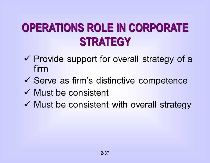2-37 OPERATIONS ROLE IN CORPORATE STRATEGY Provide support for overall strategy of a firm Serve as firms distinctive competence Must be consistent Must be consistent with overall strategy