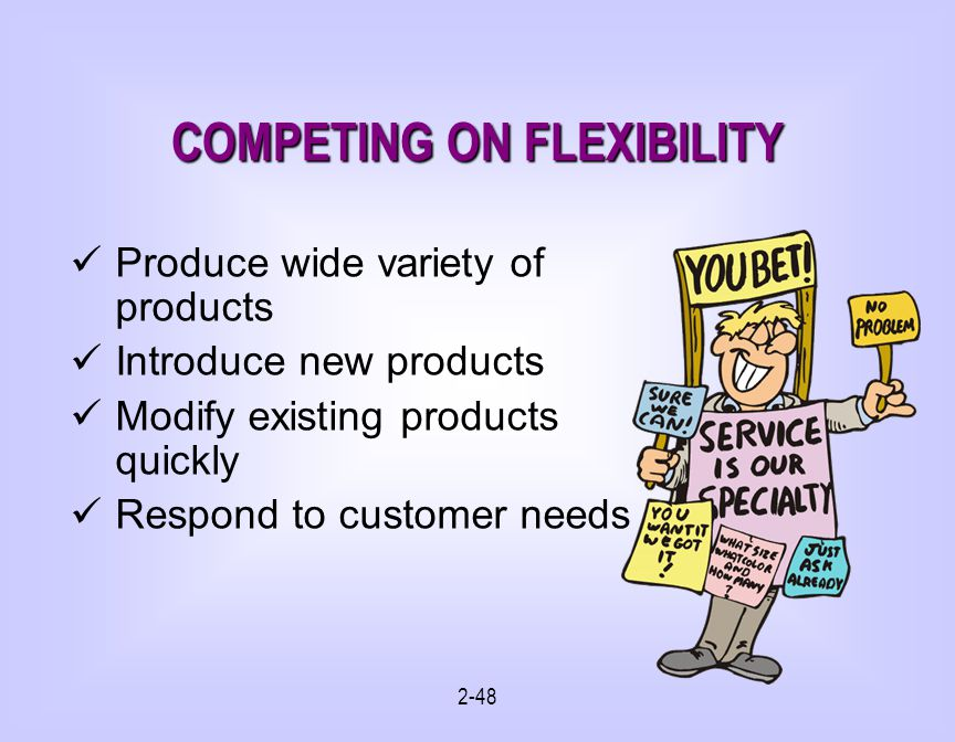 2-48 COMPETING ON FLEXIBILITY Produce wide variety of products Introduce new products Modify existing products quickly Respond to customer needs