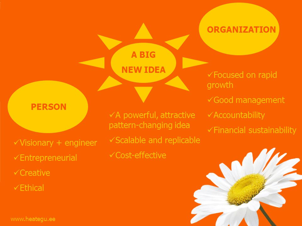 ORGANIZATION PERSON A BIG NEW IDEA A powerful, attractive pattern-changing idea Scalable and replicable Cost-effective Visionary + engineer Entrepreneurial Creative Ethical Focused on rapid growth Good management Accountability Financial sustainability