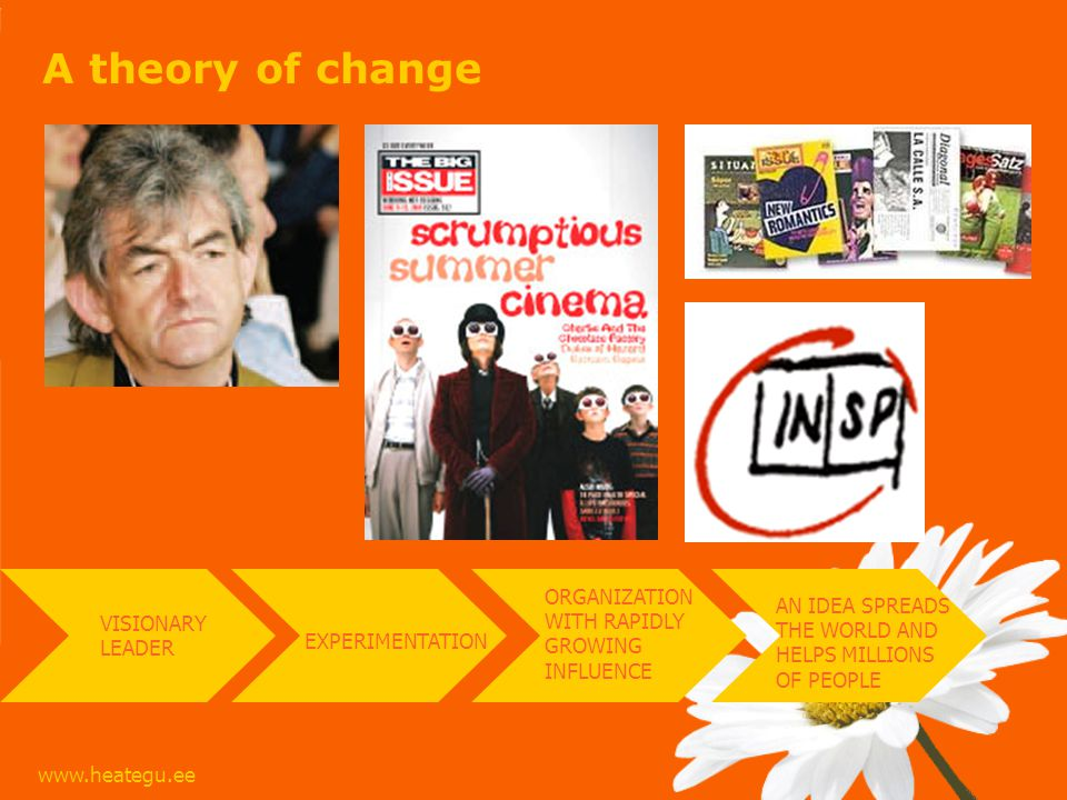 www.heategu.ee A theory of change EXPERIMENTATION VISIONARY LEADER ORGANIZATION WITH RAPIDLY GROWING INFLUENCE AN IDEA SPREADS THE WORLD AND HELPS MILLIONS OF PEOPLE