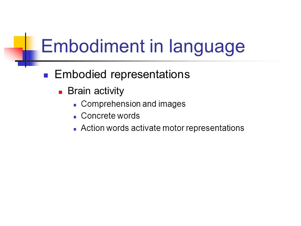 Embodiment in language Embodied representations Brain activity Comprehension and images Concrete words Action words activate motor representations