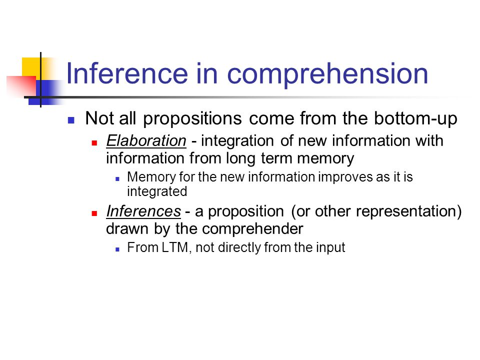 Inference in comprehension Not all propositions come from the bottom-up Elaboration - integration of new information with information from long term memory Memory for the new information improves as it is integrated Inferences - a proposition (or other representation) drawn by the comprehender From LTM, not directly from the input