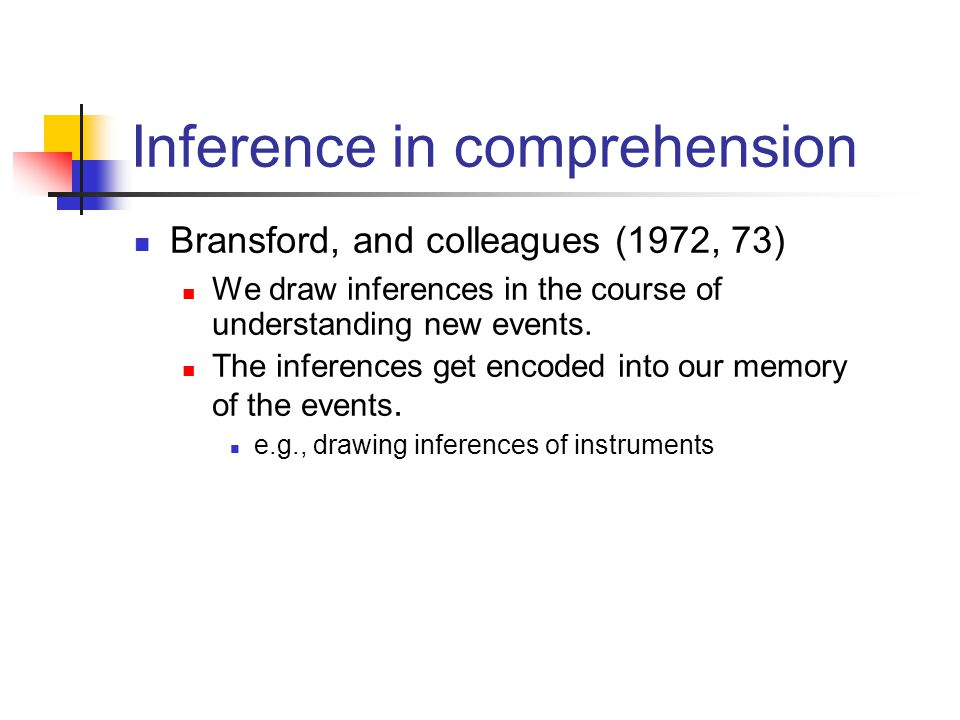 We draw inferences in the course of understanding new events.