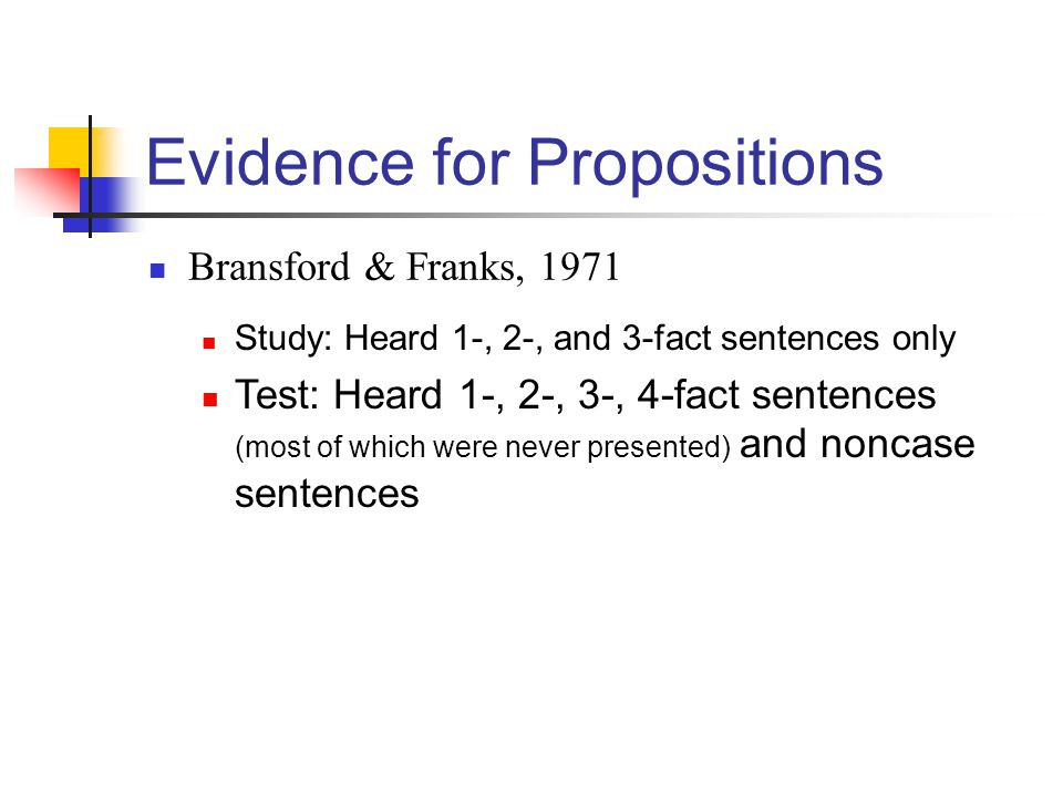 Evidence for Propositions Bransford & Franks, 1971 Study: Heard 1-, 2-, and 3-fact sentences only Test: Heard 1-, 2-, 3-, 4-fact sentences (most of wh