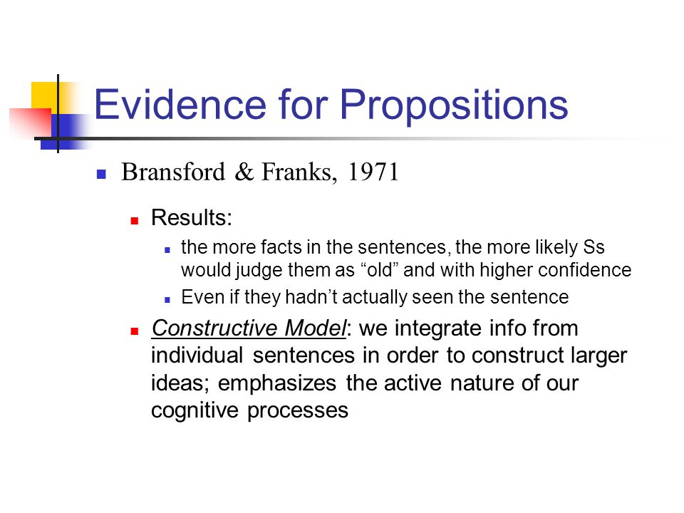 Evidence for Propositions Bransford & Franks, 1971 Results: the more facts in the sentences, the more likely Ss would judge them as old and with highe