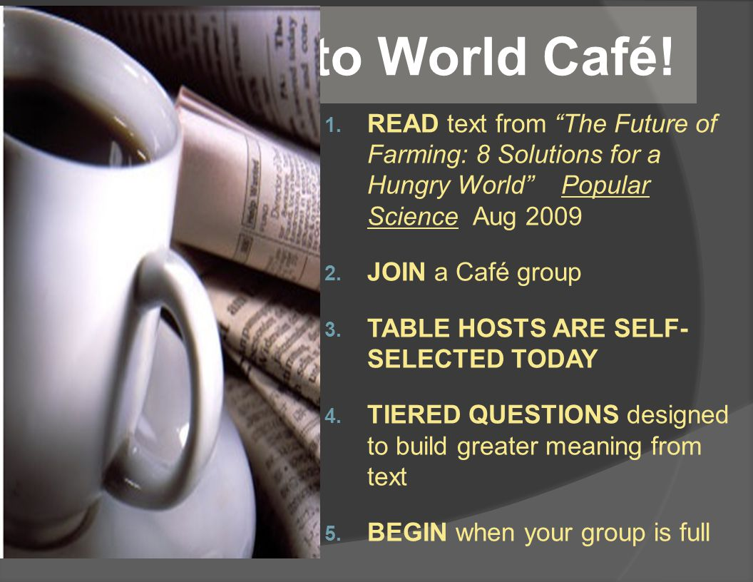 Welcome to World Café. 1.