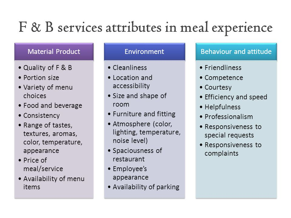 F & B services attributes in meal experience Material Product Quality of F & B Portion size Variety of menu choices Food and beverage Consistency Rang
