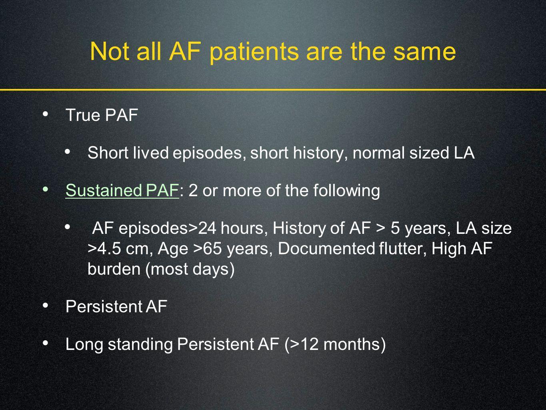 Not all AF patients are the same True PAF Short lived episodes, short history, normal sized LA Sustained PAF: 2 or more of the following AF episodes>24 hours, History of AF > 5 years, LA size >4.5 cm, Age >65 years, Documented flutter, High AF burden (most days) Persistent AF Long standing Persistent AF (>12 months)