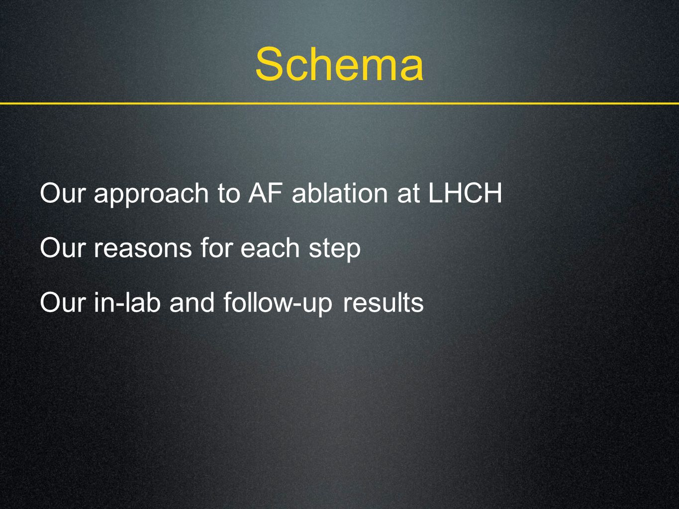 Schema Our approach to AF ablation at LHCH Our reasons for each step Our in-lab and follow-up results
