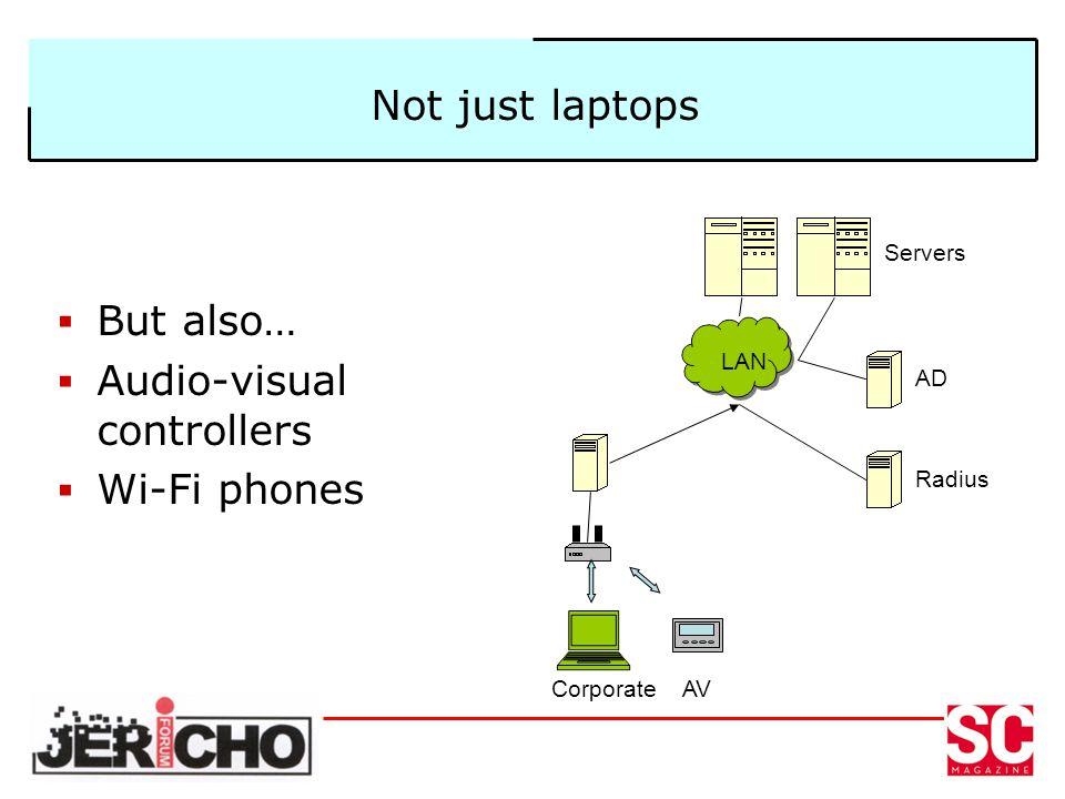 Not just laptops But also… Audio-visual controllers Wi-Fi phones LAN AD Radius Servers CorporateAV