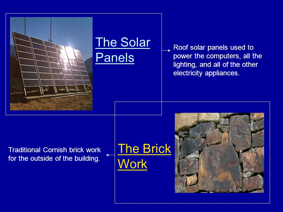 The Solar Panels The Brick Work Traditional Cornish brick work for the outside of the building.