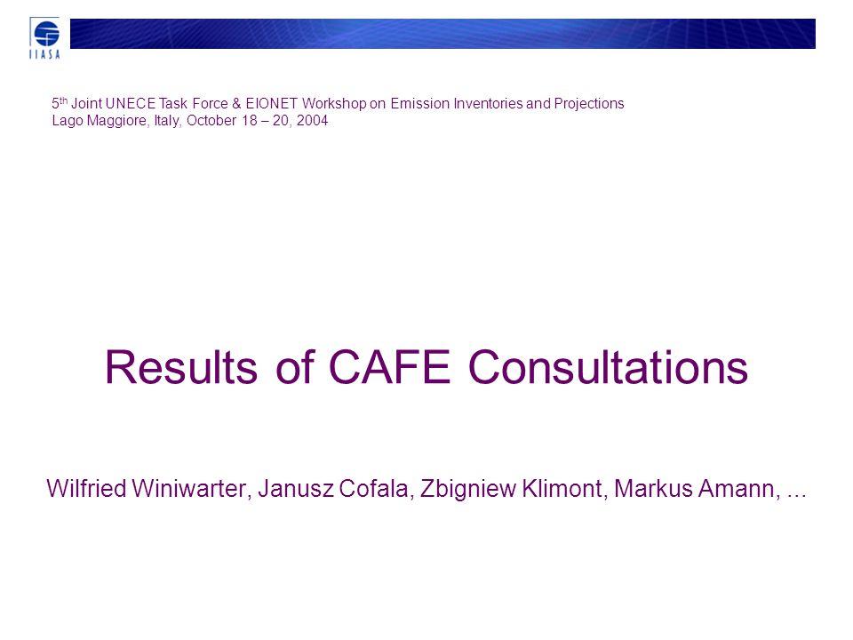 Results of CAFE Consultations Wilfried Winiwarter, Janusz Cofala, Zbigniew Klimont, Markus Amann,...