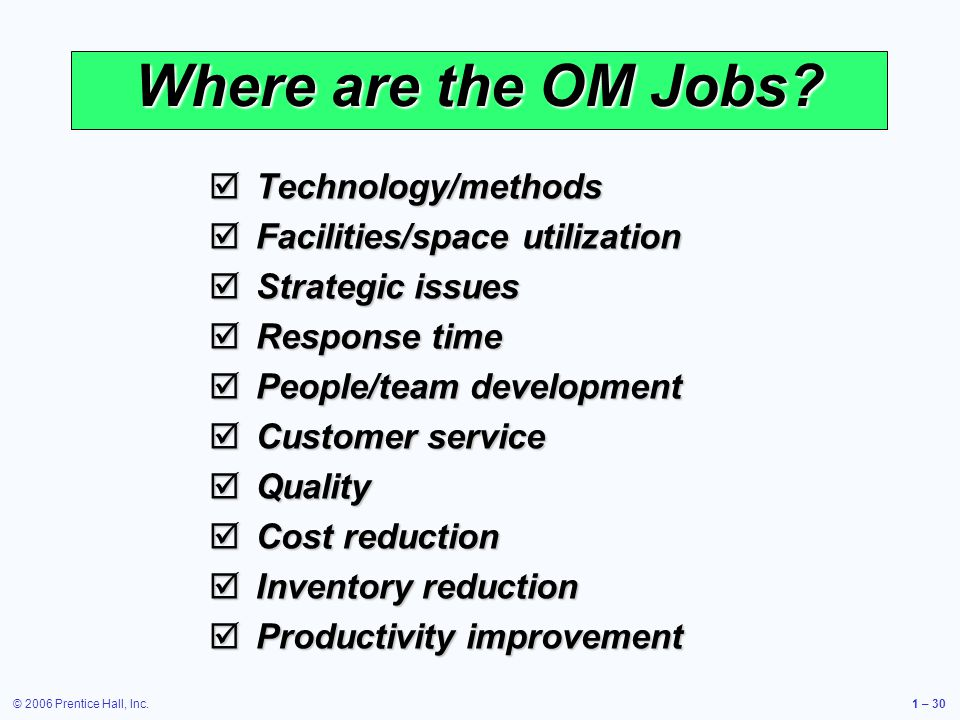 © 2006 Prentice Hall, Inc.1 – 30 Where are the OM Jobs? Technology/methods Technology/methods Facilities/space utilization Facilities/space utilizatio
