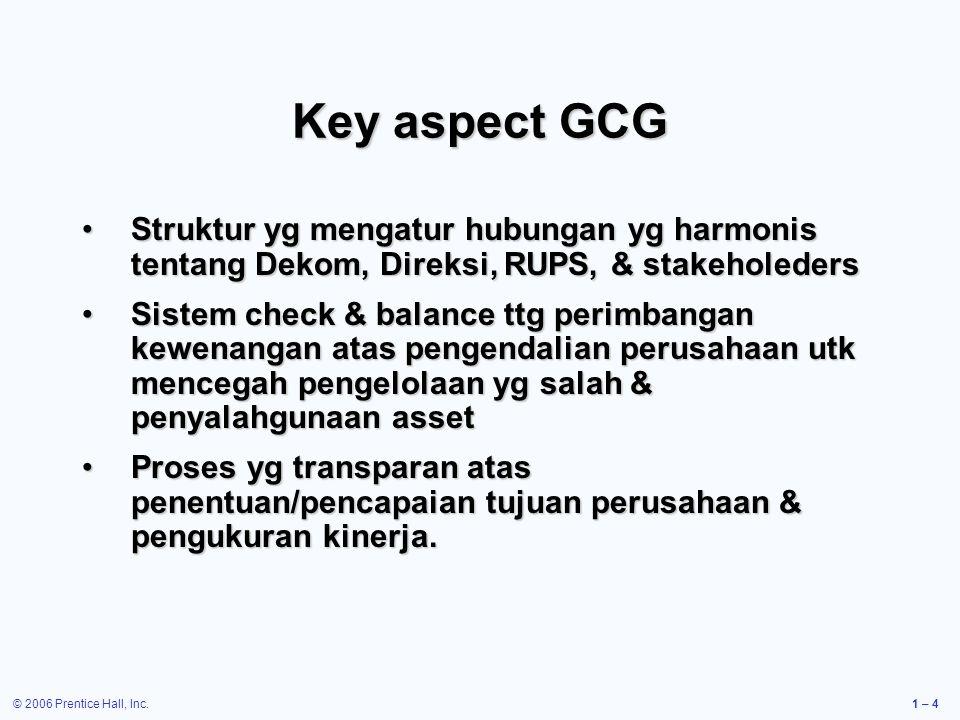 © 2006 Prentice Hall, Inc.1 – 4 Key aspect GCG Struktur yg mengatur hubungan yg harmonis tentang Dekom, Direksi, RUPS, & stakeholedersStruktur yg meng
