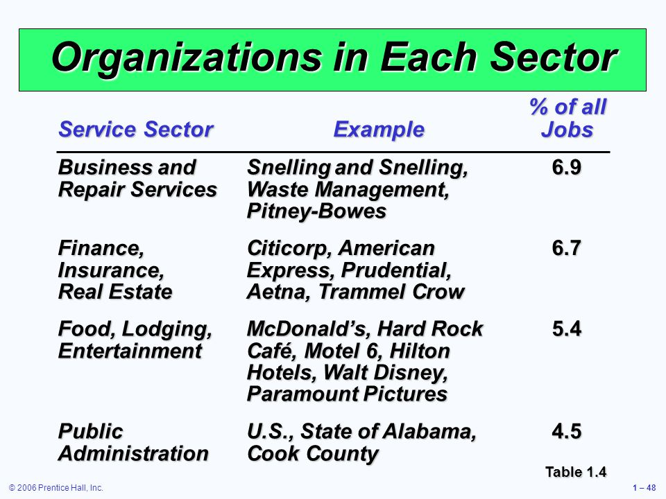 © 2006 Prentice Hall, Inc.1 – 48 Organizations in Each Sector Service Sector Example % of all Jobs Business and Repair Services Snelling and Snelling,