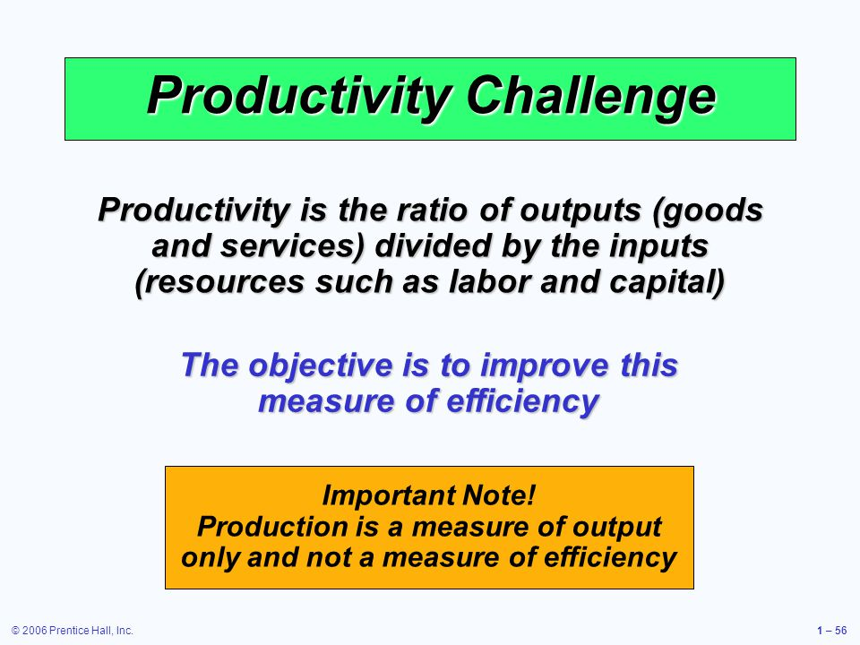 © 2006 Prentice Hall, Inc.1 – 56 Productivity Challenge Productivity is the ratio of outputs (goods and services) divided by the inputs (resources suc
