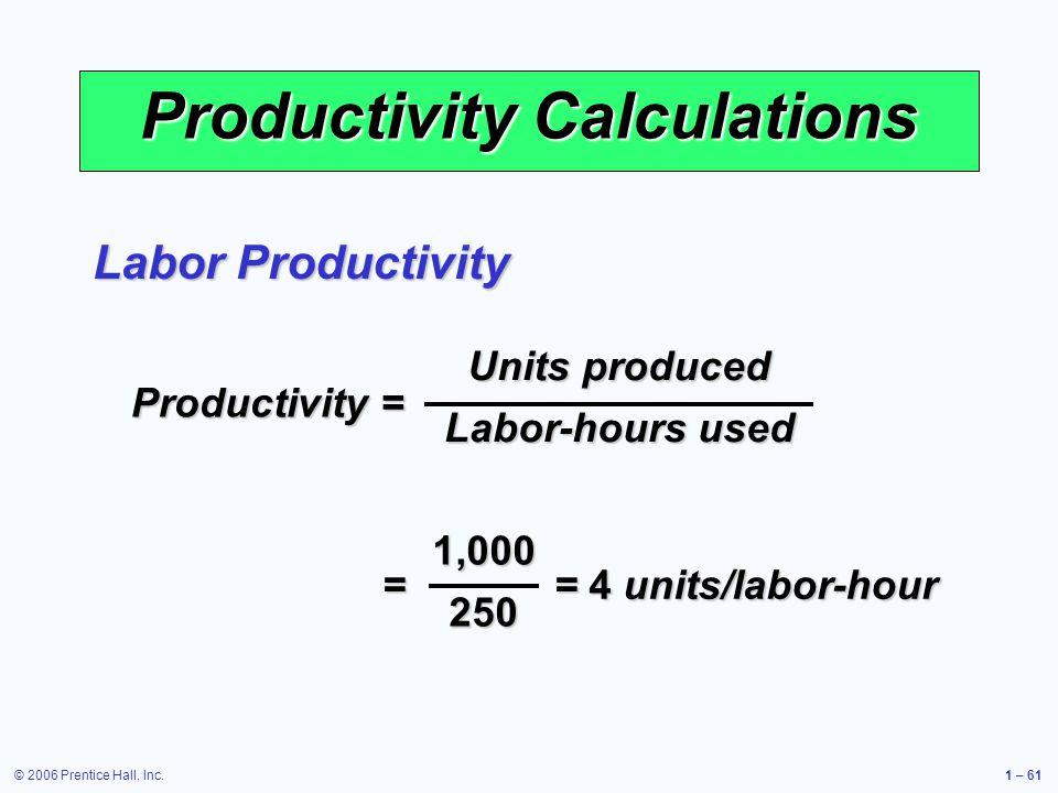 © 2006 Prentice Hall, Inc.1 – 61 Productivity Calculations Productivity = Units produced Labor-hours used = = 4 units/labor-hour 1,000250 Labor Produc