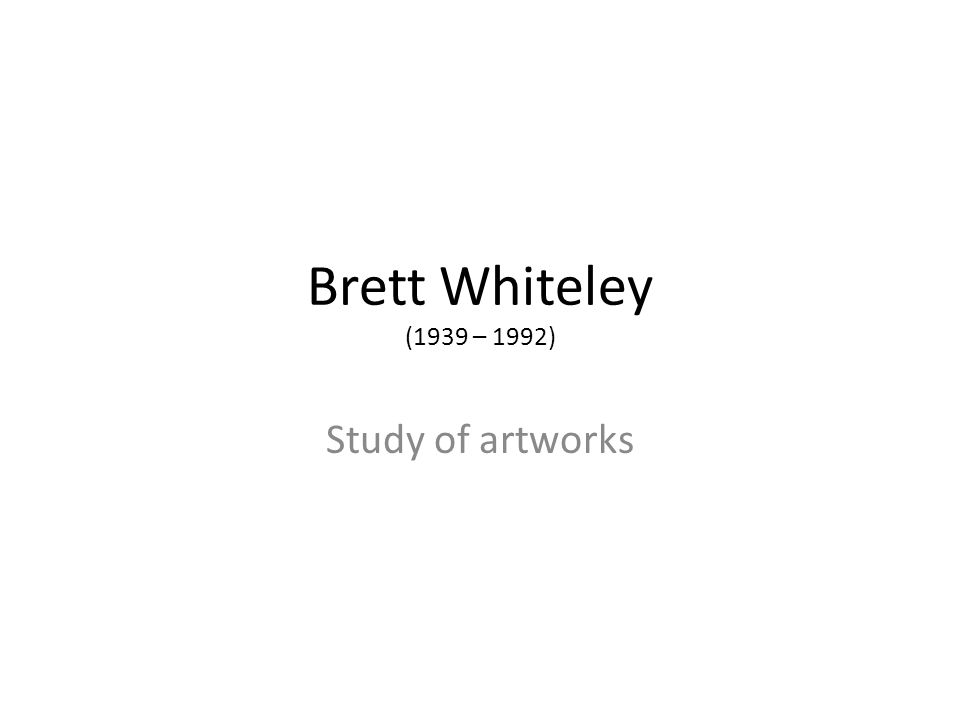 Brett Whiteley (1939 – 1992) Study of artworks