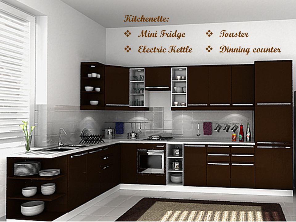 Kitchenette: Mini Fridge Electric Kettle Toaster Dinning counter