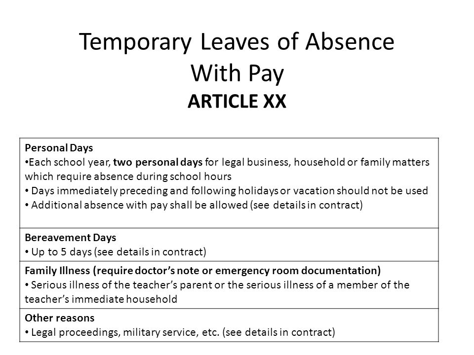 Temporary Leaves of Absence With Pay ARTICLE XX Personal Days Each school year, two personal days for legal business, household or family matters whic
