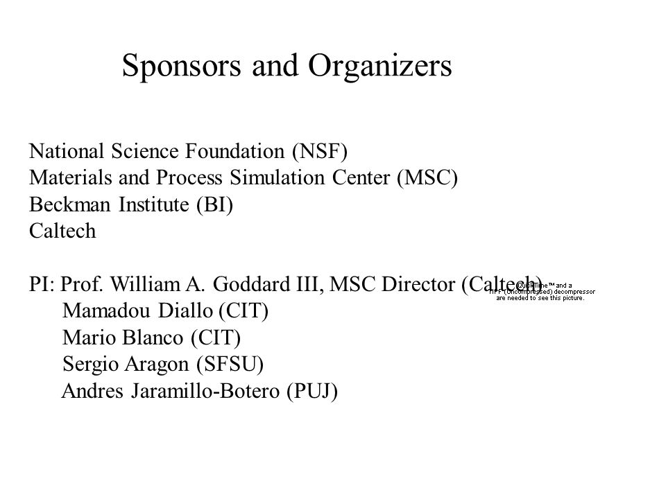 Sponsors and Organizers National Science Foundation (NSF) Materials and Process Simulation Center (MSC) Beckman Institute (BI) Caltech PI: Prof. Willi