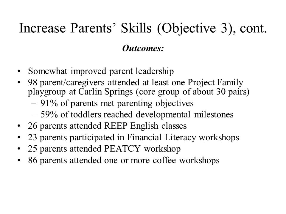 Increase Parents Skills (Objective 3), cont. Outcomes: Somewhat improved parent leadership 98 parent/caregivers attended at least one Project Family p