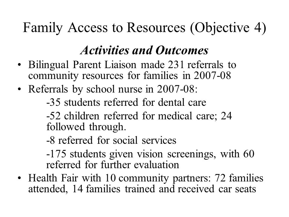 Family Access to Resources (Objective 4) Activities and Outcomes Bilingual Parent Liaison made 231 referrals to community resources for families in 20