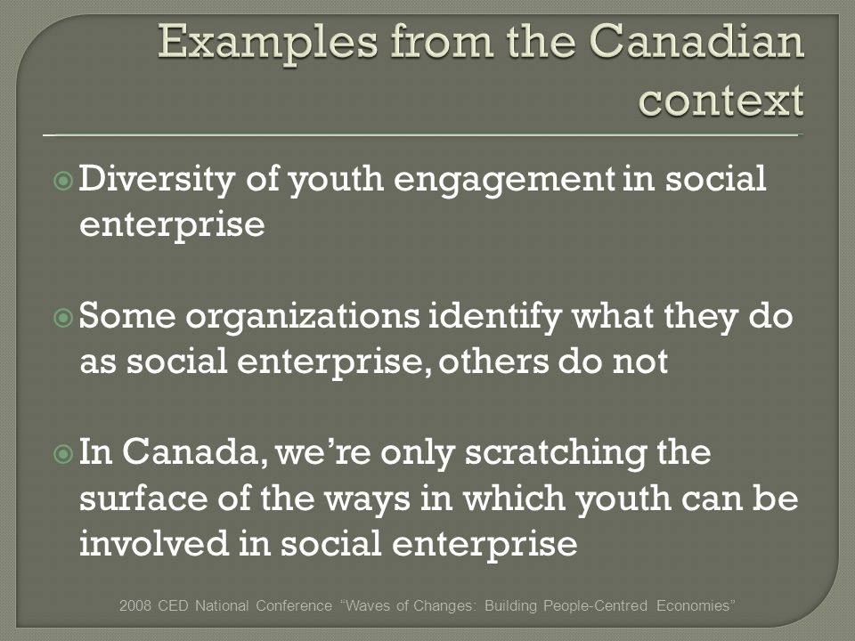Diversity of youth engagement in social enterprise Some organizations identify what they do as social enterprise, others do not In Canada, were only scratching the surface of the ways in which youth can be involved in social enterprise 2008 CED National Conference Waves of Changes: Building People-Centred Economies