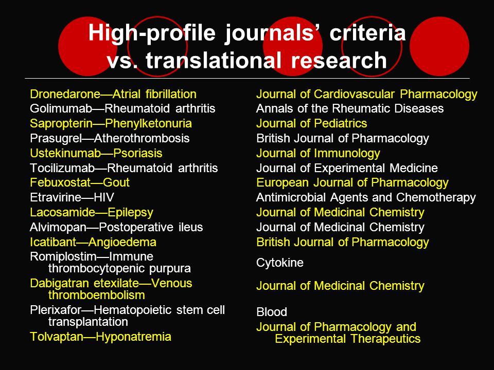 High-profile journals criteria vs.