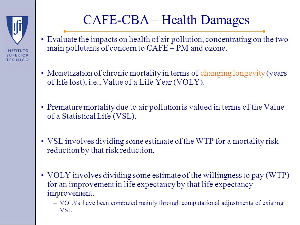 Evaluate the impacts on health of air pollution, concentrating on the two main pollutants of concern to CAFE – PM and ozone.