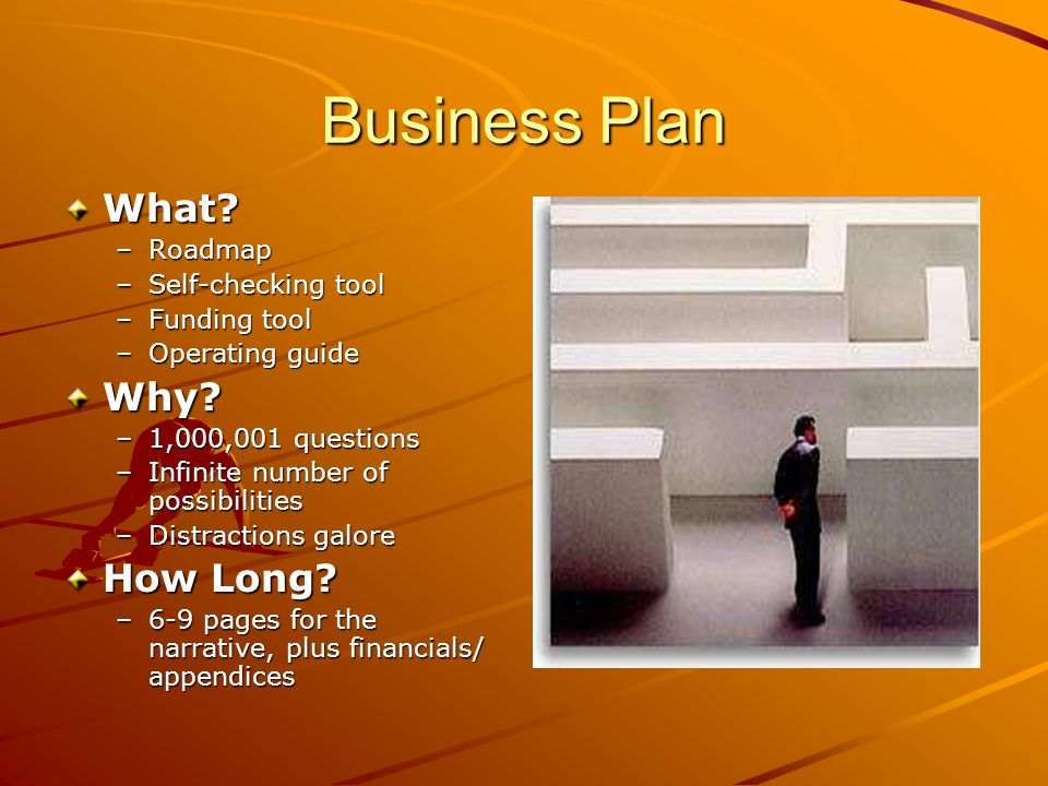 Business Plan What. –Roadmap –Self-checking tool –Funding tool –Operating guide Why.