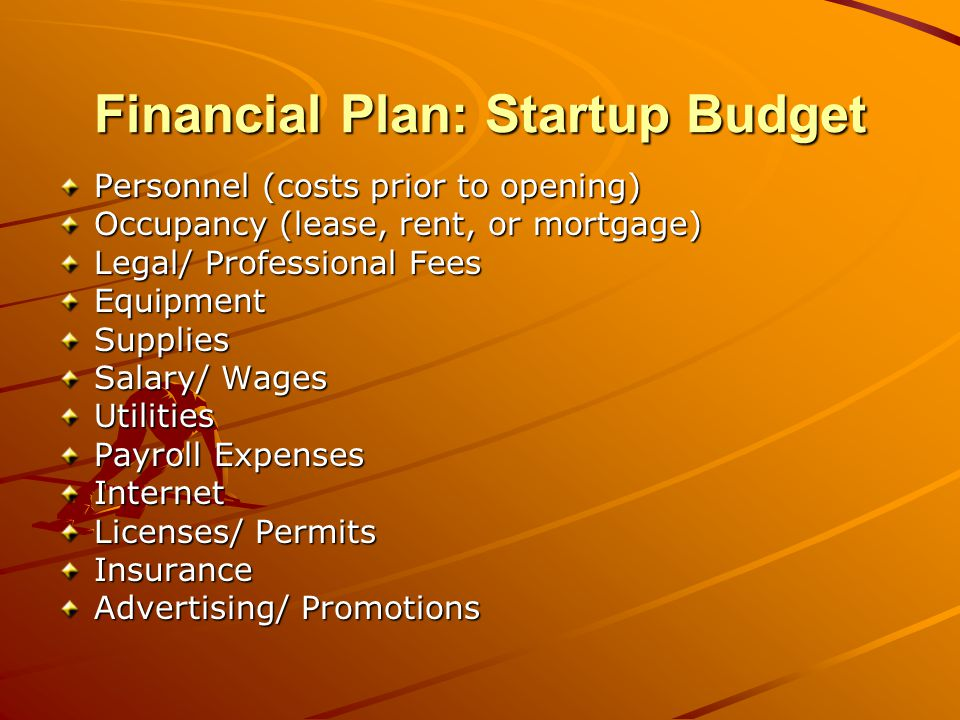 Financial Plan: Startup Budget Personnel (costs prior to opening) Occupancy (lease, rent, or mortgage) Legal/ Professional Fees EquipmentSupplies Salary/ Wages Utilities Payroll Expenses Internet Licenses/ Permits Insurance Advertising/ Promotions