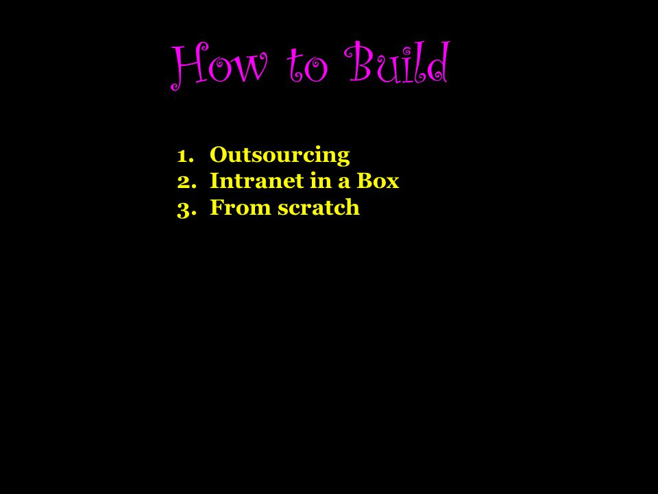 How to Build 1.Outsourcing 2.Intranet in a Box 3.From scratch