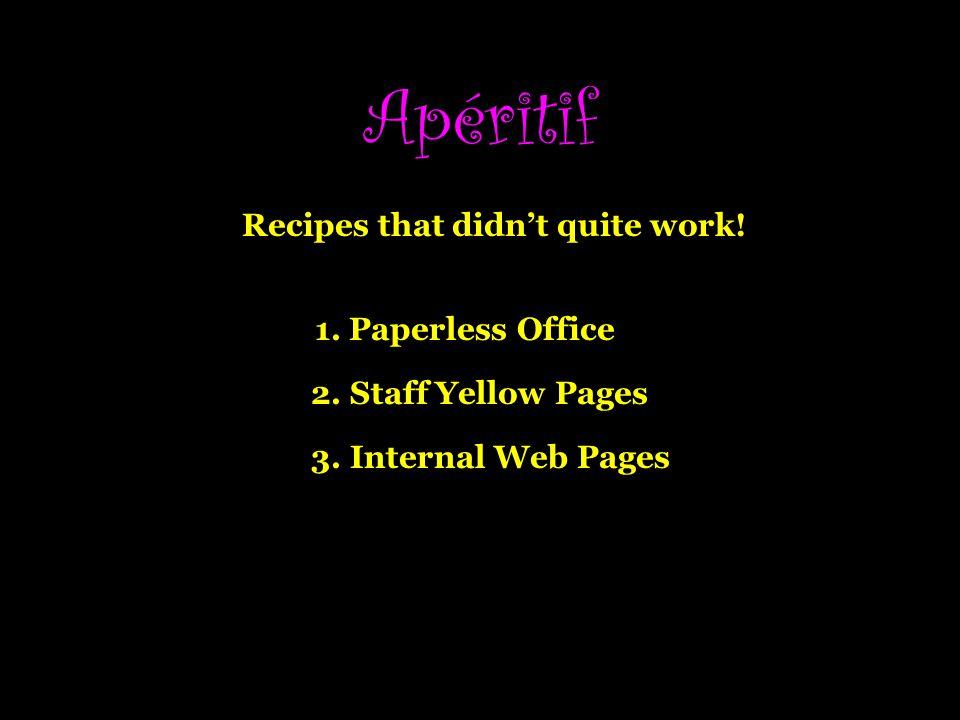 Apéritif Recipes that didnt quite work.1. Paperless Office 2.