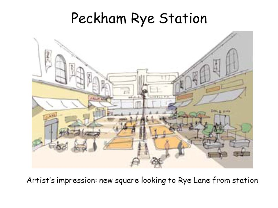 Peckham Rye Station Artists impression: rear courtyard of station as a market (note new entrance through the rear of station)