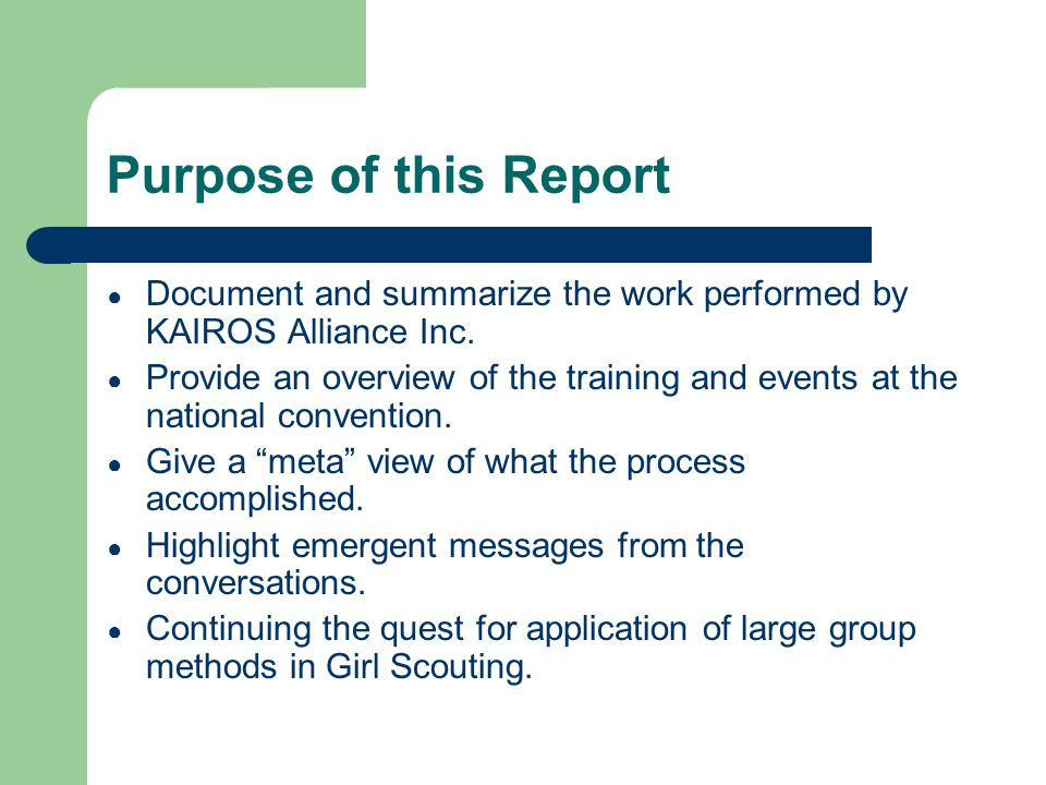 Purpose of this Report Document and summarize the work performed by KAIROS Alliance Inc.