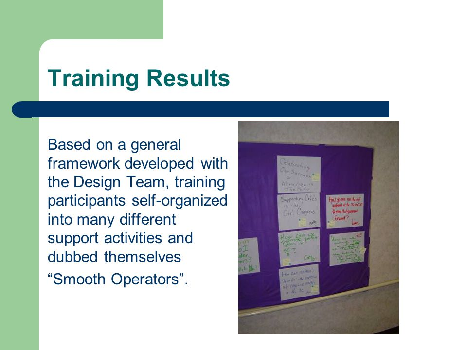 Training Results Based on a general framework developed with the Design Team, training participants self-organized into many different support activities and dubbed themselves Smooth Operators.